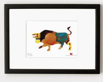 Collage P03 - Bull / limited ArtPrint, signed and numbered, in passepartout ready for frame and wall. Home Decor, art print wall
