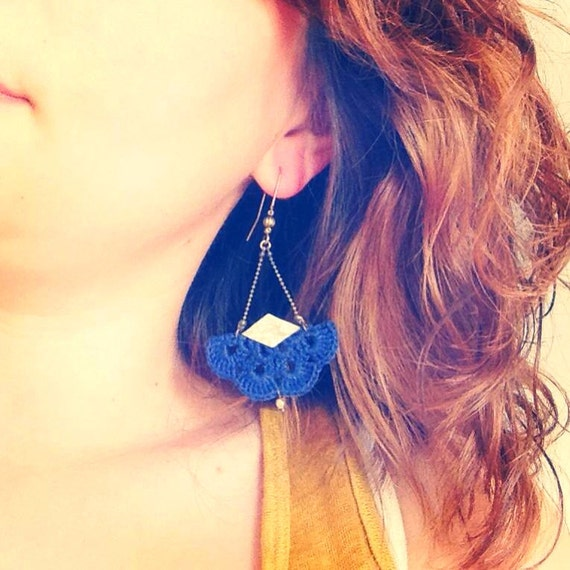 "Navy Blue earrings with hook and gold leather ""AEMULA"" - Boho jewelry, wedding / everyday - ""Gypsy Chic"" Collection"
