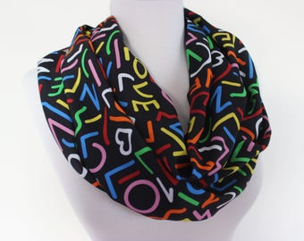 Love Scarf, Writing Scarf, Book Scarf, Infinity Loop Scarf, Love Print Scarf, Text Scarves, Heart Scarf, Gift for Her, Black Loop Scarf