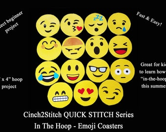"Quick Stitch Emoji Coasters - In The Hoop - Machine Embroidery Design Download (4"" x 4"" Hoop), Vinyl or Recycled Denim"