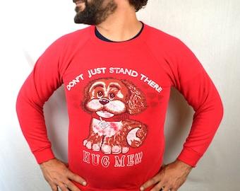 Awesome 80s Vintage Puppy Cute Love Hug Heart Red Sweatshirt