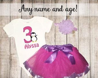 Girls Hot Pink Purple Penguin Birthday Personalized Shirt Tutu Headband Set - ANY Age