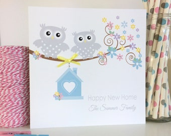 Handmade Personalised Owl New Home Card, Happy New Home Card, Congratulations on your New Home Card, Home Sweet Home Card (LB154)