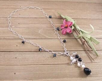 Black Onyx, Freshwater Pearl, Swarovski Crystal Sterling Silver Necklace Y-Necklace Choker Gypsy Boho