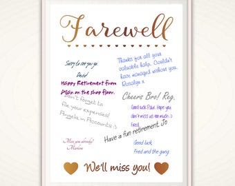 Retirement Guest Book - Farewell Gift for Coworker, Going Away Party, Farewell Party, Retirement Gift, Farewell Sign, Retirement Party, PDF