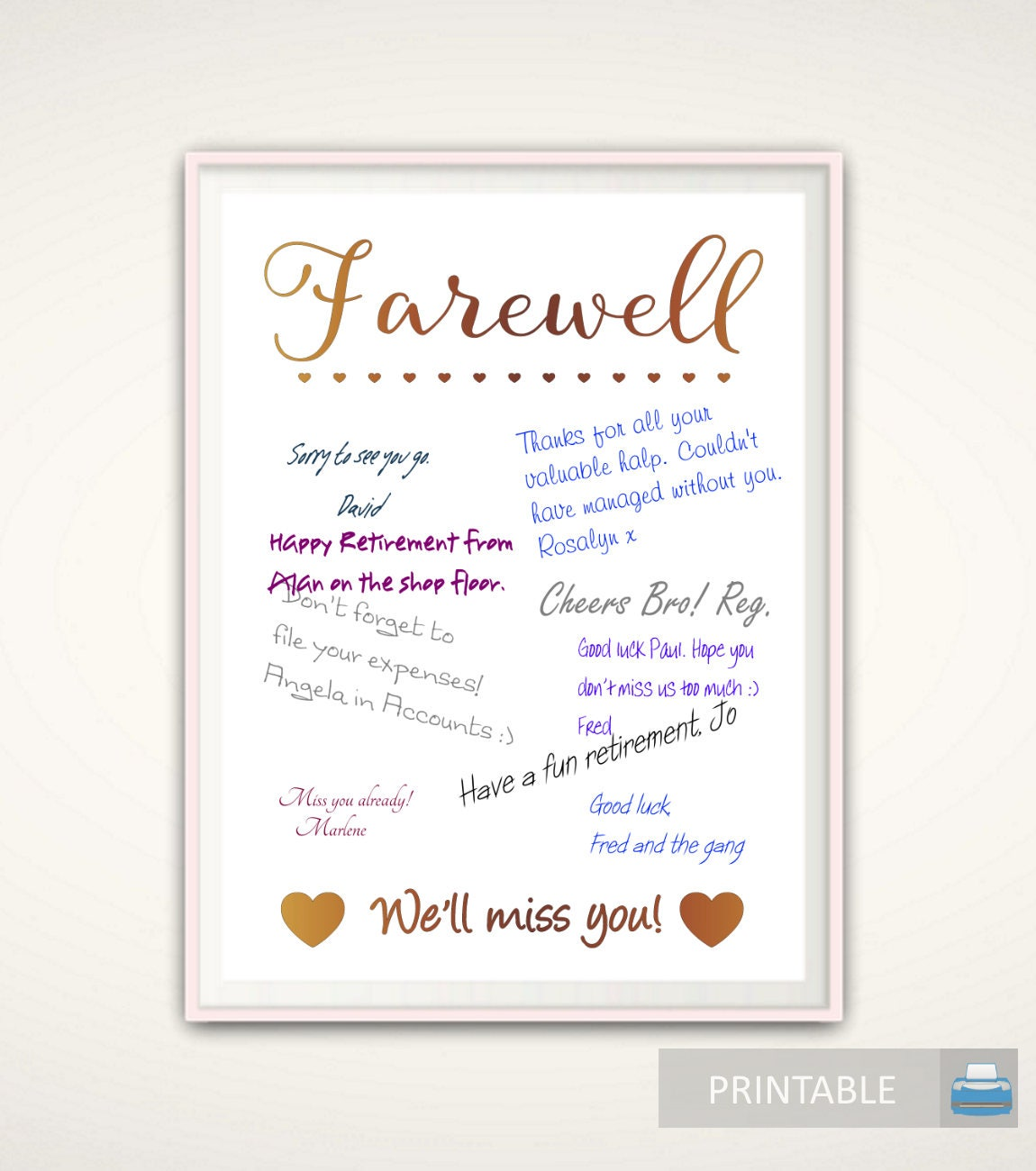 Retirement guest book farewell gift for coworker going away zoom monicamarmolfo Image collections