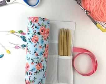 DPN Storage, Needle Storage, Knitting Case, Knitting Needle Organizer, Crochet Hook Case, Craft Storage, Blue Floral Cotton