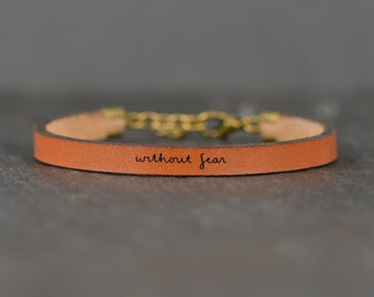 without fear bracelet   college student gift   no fear   scripture jewelry   leather band   new mom gift   fearless   chemo gift   leather