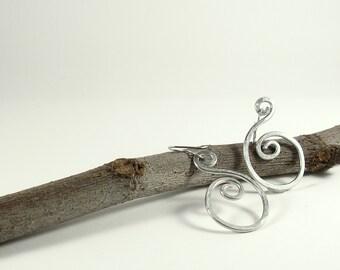 Aluminum wire earrings Dangle earrings Womens earrings S-shape wire wrapped earrings. Aluminum jewelry