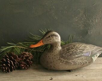 Vintage Plastic/Resin Female Mallard 1967 D-9-R Victor Duck Decoy, Cottage Chic, Farmhouse Chic, Rustic