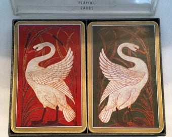 Vintage Ferd-Piatnik & Sons made in Vienna Austria, double deck playing cards featuring swans. missing jokers