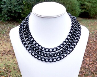 Long Black Chain Necklace Chunky Black Chain Necklace Long Chain Necklace Chunky Chain Necklace Double Strand Chain - WORN MULTIPLE WAYS