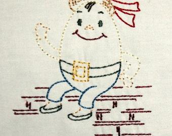 Humpty Dumpty Machine Embroidery Design 4x4 hoop, vintage colorwork linework, nursery rhyme, cute, INSTANT DOWNLOAD