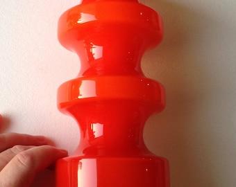 Alterfors hooped orange glass vase retro vintage Scandinavian 1960s