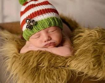 Newborn Christmas Hat, Newborn Photo Prop, Newborn Christmas Photo Prop, Christmas Baby Hat, Baby Girl Hat, Baby Boy Hat, Knit Christmas Hat