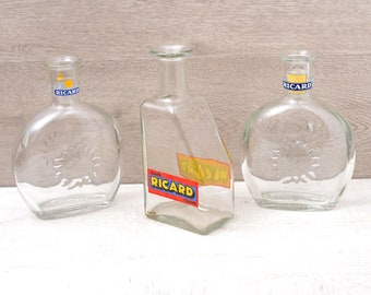 3 Français Vintage Ricard d'eau pichet, Français Vintage RICARD Carafe, pichet Anisette, Pastis bouteille d'eau, bouteille de Pastis Anisette