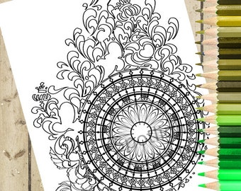 WHEEL Adult Coloring Page – PRINTABLE Coloring Page Pattern Color Adult Coloring Book Page Download and Color - Adult Coloring Page DOWNLOAD