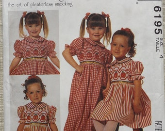 Ann Hallay Designs Girl's Dress and Jumpsuit in Size 4 Complete Uncut with Smocking Transfers Vintage 90s McCall's Sewing Pattern 6195
