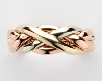 Ladies 4 Band Puzzle Ring in Sterling Silver, Gold or Platinum, Style 4C3