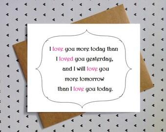 love card for boyfriend, girlfriend, husband, or wife. anniversary card. i love you more