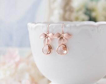 Bridesmaid Gift, Rose Gold Peach Champagne Earrings, Peach Wedding Rose Gold Wedding Earrings, Orchid Flower, Bridesmaid Earrings