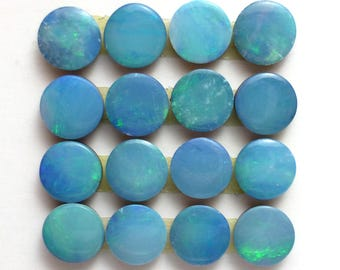 Opal 5mm Round Calibrated Cabochon Doublet Light Teal Australian Boulder ONE CAB Perfect for Stacking Rings Earrings Jewelry