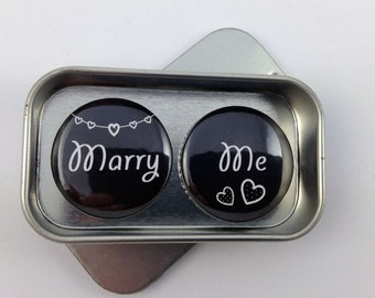Wedding Valentines Day Birthday Marry Me Magnet Gift Set Say It With Magnets Handmade Keepsake complete with gift tin