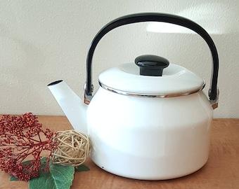 White Enamel Tea Kettle Large Vintage White Tea Kettle Siam Fuji Ware Thailand
