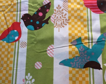 Artistic Birds and Leaves on Stripes- Cotton Fabric -33 inches
