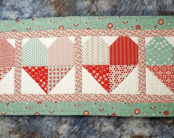 Quilted Pieced Valentine Table Runner - Red and Teal