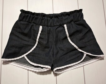 Girl Coachella shorts -  girls shorts - denim chambray shorts -  white lace and denim short -  mommy and me set -  summer short - baby short