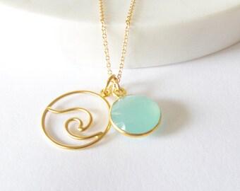 Gold Wave Pendant Necklace - Surfer Necklace - Gold Necklace - Ocean Jewelry - Surfer Jewelry