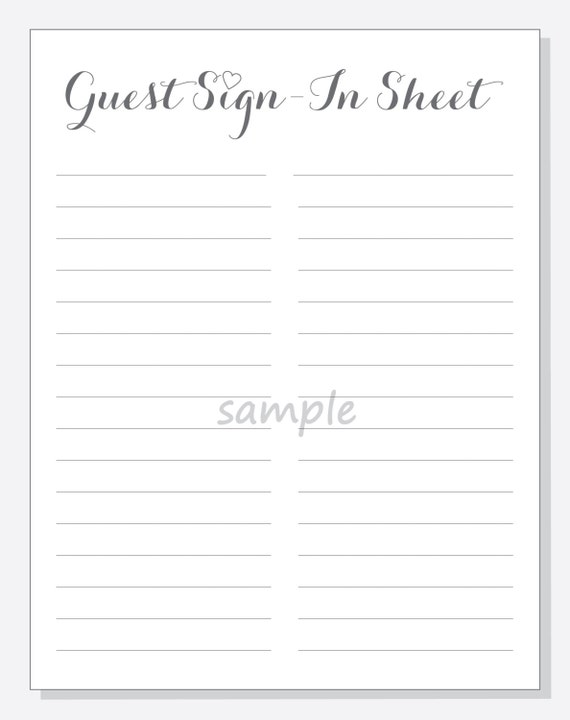 guest sign in sheet templates