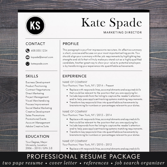 Resume / CV Template Professional Resume Design For Word Mac