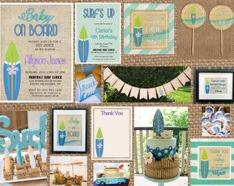SURFER + SURFBOARD + BEACH // Birthday + Baby + Bridal Shower + Summer + Pool // Full Service Printing + Coordinating Items