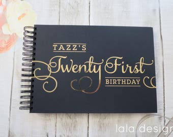Tazz 21st Gold Foil + Black | Custom Made Guestbook | Personalised Guestbook | Parties | Birthdays | Australia Seller