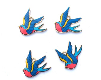 Blue and Red Swallow Bird Charms Swallow Tattoo Charms Rockabilly Charms 4 pieces