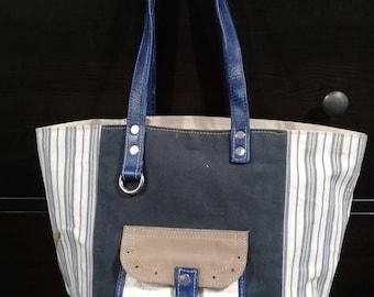 Handbag fabric and leather, white, blue, beige, silver, Unique!