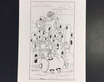 14-La Tempérance, Illustration originale à l'encre noire