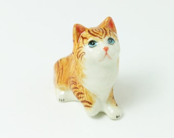 Cat Ceramic - Miniature Animal Figurine - Miniature Striped Brown Cat - Ceramic Hand Painted