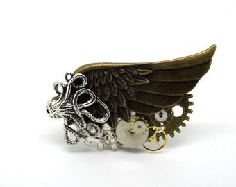 steampunk wing, gears, octopus ring