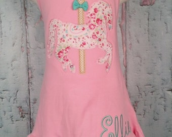 Carousel Horse Ruffle Bottom Tank Dress - Girls