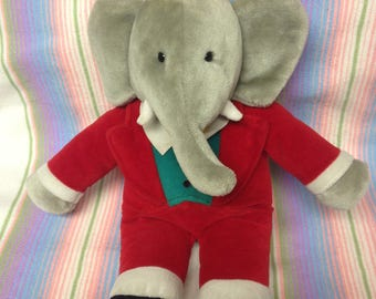 Vintage King Babar Stuffed Elephant Plush