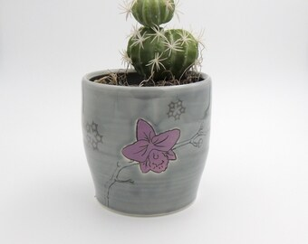 Ceramic Planter // flower pot, ceramic utensil holder, wheelthrown pottery, handmade, clay planter, purple, orchid, flowers, orchid pot