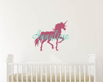 Unicorn Name Decal, Unicorn Wall Decal, Unicorn Wall Sticker, Unicorn Decal, Unicorn Wall Decor, Unicorn Nursery, Unicorn Wall Art
