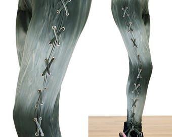 SALE!! Tie Dye Olive Green Lace Up Corset Leggings