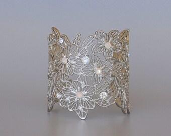 Silver Bridal Cuff, White Opal Cuff, White Gold Lace Cuff, Silver Arm Bracelet, Milk Opal Crystal Cuff MARINA
