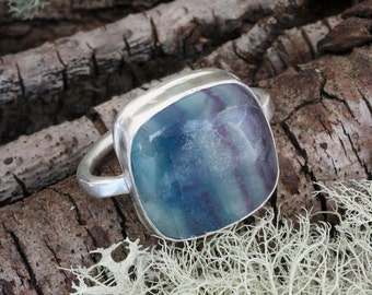 Fluorite ring, silver ring, statement ring, blue gemstone, purple stone, ethical ring, Green Jeweler,  sustainable jewelry, ancient style