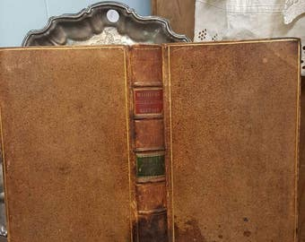 Antique 1810 Leather Bound Ecclesiastical History  Book from Rustysecrets for Primitive Rustic Decor