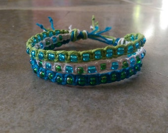 Thick Hemp Bracelet, Tropical, Adjustable Bracelet, Handmade Jewelry, Gift for Her, Hemp Jewelry, Bracelet, Beach Jewelry